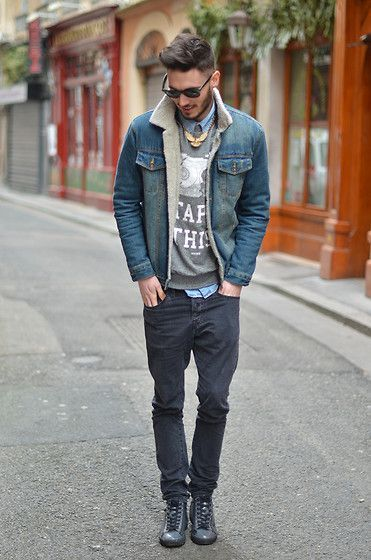 porter une veste en jean homme