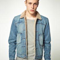 veste en jean avec fourrure homme