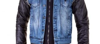Veste en jean avec manche en cuir