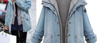 Veste en jean capuche femme