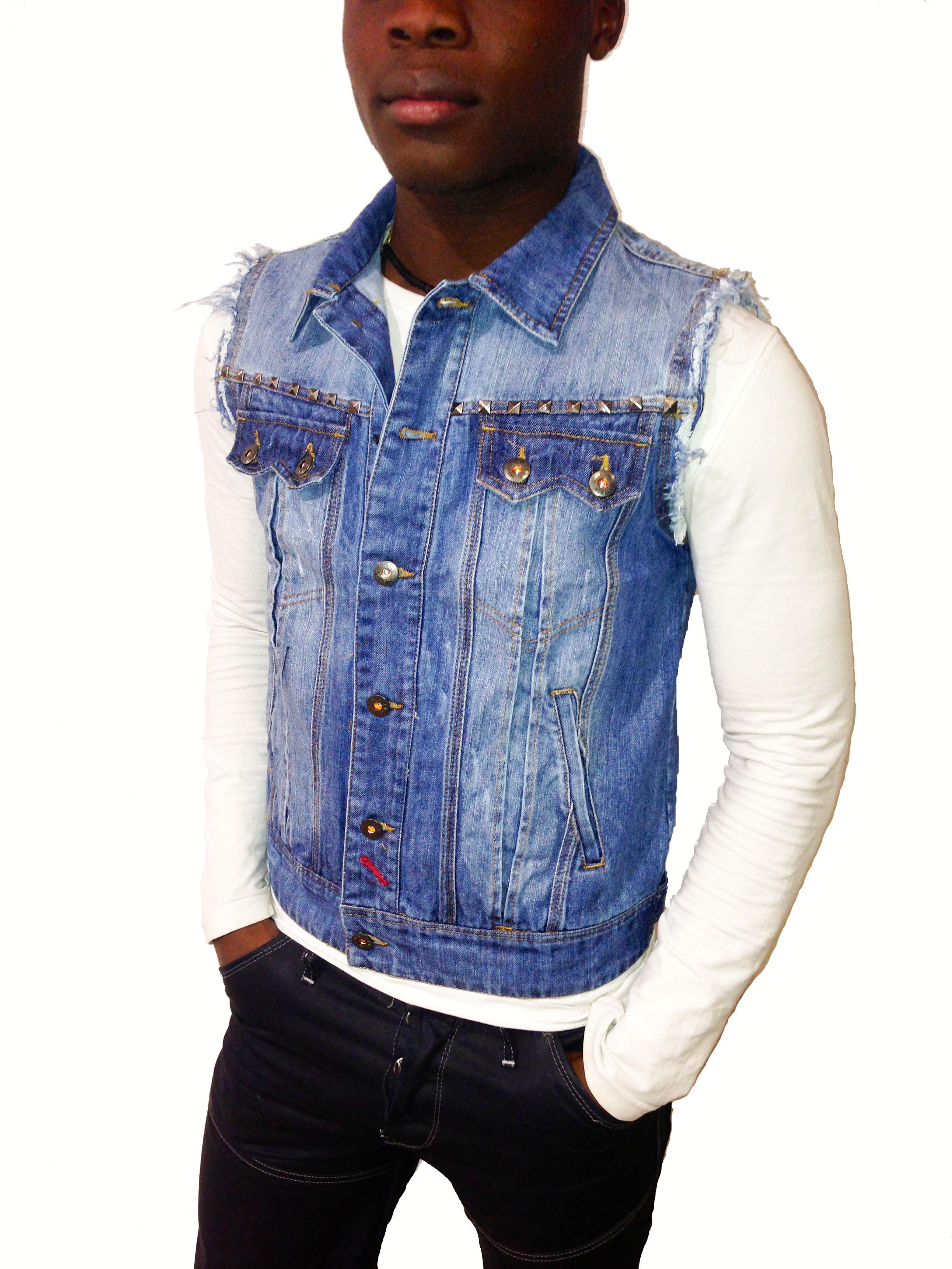 veste en jean manche courte homme