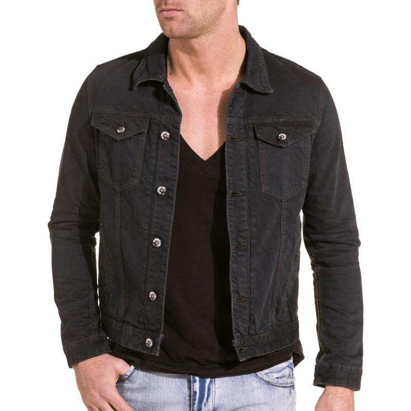 veste en jean noire homme