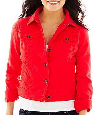 veste en jean rouge