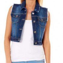 veste en jean sans manche femme