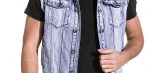 Veste en jean sans manche homme