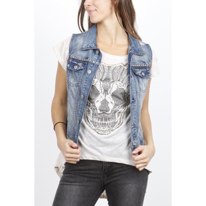veste en jean sans manches femme