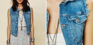 Veste en jeans sans manche femme