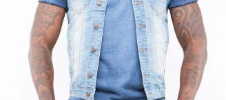 Veste en jeans sans manche homme