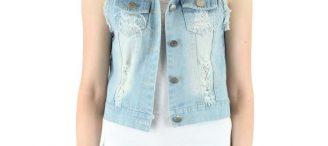 Veste jeans sans manche femme
