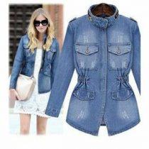 veste longue en jean femme